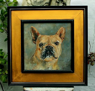 Excellent Early C20th English School Oil  Portrait of a French Bulldog