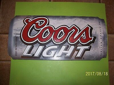 "Coors Light 3D Beer Can Shaped Wooden Sign Bar Pub Man Cave 14"" x 61/2 """