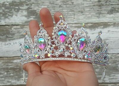 Quincianera SWEET 16 iridescent SILVER Crystal RHINESTONE HAIR COMB TIARA CROWN