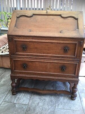 Antique Oak Writing Desk Lockable Bureau