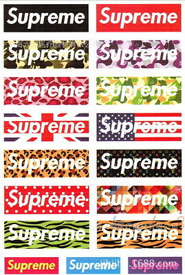 Total of 17 One Pack Mix Small Supreme Classic Box Logo Vinyl Stickers PVC Decal