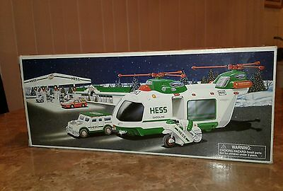 HESS TRUCK 2001 HELICOPTER MOTORCYCLE & CRUISER IN box with instruction card