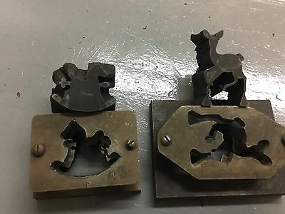 (ANTIQUE )2 Stamping Press Punch And Die To Make horse and deer Blank