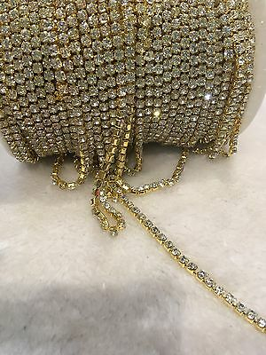 1 Meter clear crystal rhinestone encased in Gold metal chain trim 3.5mm