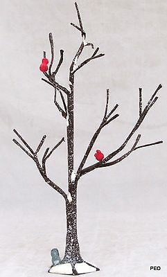 Department 56 Snow Village Frosted Bare Twig Tree with 2 Cardinals and Squirrel