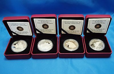 2013 Canada Bald Eagle Set of 4 ~ 1oz Deep Cameo Silver Proof Comemoratives