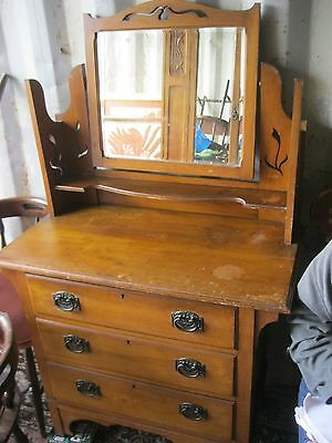 Vintage Ornate 'satinwood' Dressing Table With Mirror. View/delivery Available