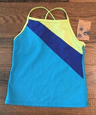 NWT Girls Lands End Blue Tankini Swimsuit Swim Top Size 6