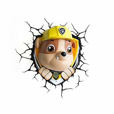 NEW Official Paw Patrol 3D FX LED Wall Light Rubble Childrens Room Lighting