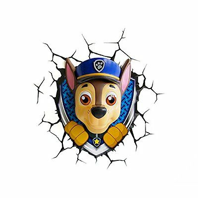 NEW Official Paw Patrol 3D FX LED Wall Light Chase Childrens Room Lighting