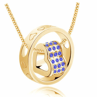 New Blue Rhinestones Gold Plated Love Heart Round Charm Pendant Necklace