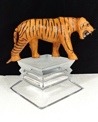 "Hand-crafted Leather wrapped Tiger~13""~Sculpture~Display~Figurine"
