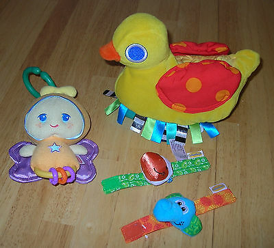 Baby Pull Toy Lot Taggies Sassy Duck Vibrate Hanging Gloworld Glo Worm Car Seat