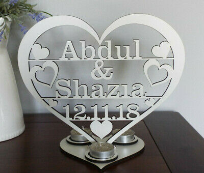 Personalised Tea light holder  2 names and date in  Heart