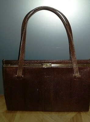 Mappin and Webb 1950s snakeskin handbag, great vintage condition for Revival
