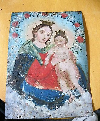 Original Antique Retablo On Tin With The Image Of Saint Anthony With Young Jesus