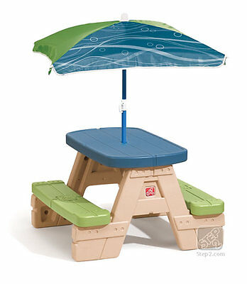 Step2 Sit & Play Picnic Table with Umbrella Kids Outdoor Furniture Toddler Bench