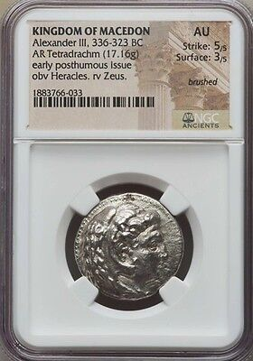 NGC AU 5/5 - 3/5. Alexander the Great. Tetradrachm. Ancient Greek Silver Coin.