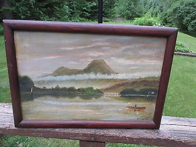 Antique Oil Painting On Canvas Lake&mountains Signed Jas Mackenzie 1903