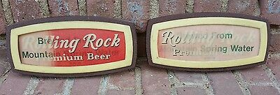 2x Vtg 1970 Rolling Rock Beer Motion Holographic Wall Sign Mountain Spring Water