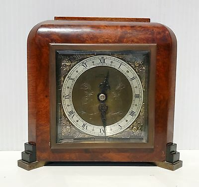 A Quality Elliott Burl Walnut Mantle Clock Superb