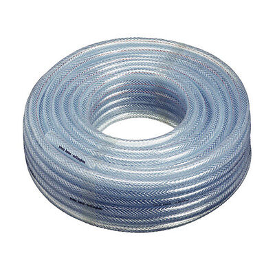 "50ft Roll of Clear Braided Nylon Reinforced Air Line Tubing, 1/4"" I.D. X 7/16"""
