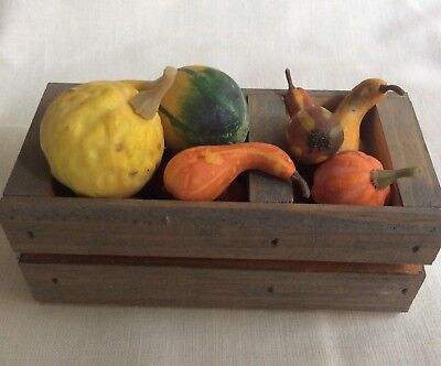 Miniature 1:6 Wooden Crate With Fall Harvest - Nice Accessory With Carolers