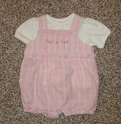 131c9597ad1 Baby Sonoma Girls 2 Piece Romper Shirt Outfit Pink Green Lavender 3-6  Months EUC