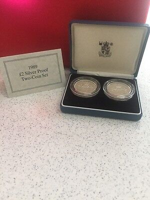 United Kingdom Royal Mint 1989 £2 Silver Proof Two Coin Set Original Box W Coa