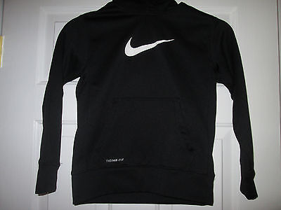 Nike Boys Size Small Black/White Swoosh Therma-fit Hoodie