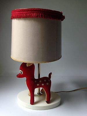 Cute Vintage red Bambi Baby Deer Fawn Nursery Decor Table Lamp with Shade WORKS!