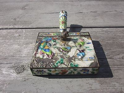 Vintage Chinese Brass Enamel Handled Box  Butler/Ash Holder/ Crumb Catcher R8T1
