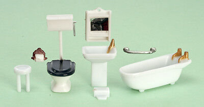 "Miniature Dollhouse FAIRY GARDEN Furniture ~ ¼"" Micro Mini 8 Piece Bathroom Set"