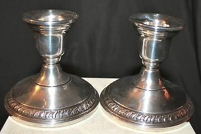 Pr Lovely Vtg Sterling Silver Weighted Candlesticks Made by Columbia wt 538.9 g