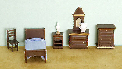 "Miniature Dollhouse FAIRY GARDEN Furniture ~ ¼"" Micro Mini 8 Piece Bedroom Set"