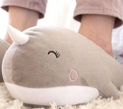 Smoko Stuffed Narwhal Sea Whale Heated USB Warm Funny Character Adult Slippers