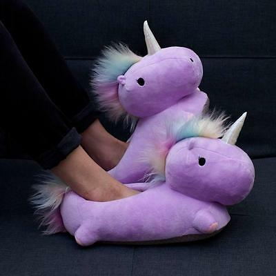 Smoko Stuffed Pastel Unicorn Heated USB Warm Character Adult Slippers- Purple