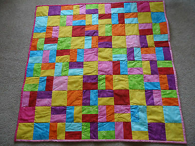 KNEE RUG/ LAP QUILT. Hand made 104 cm square approx. Cotton
