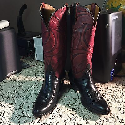 Vintage Lucchese Western Boots  Red Tone Tops Black Foot Woman's 7A Cowboy