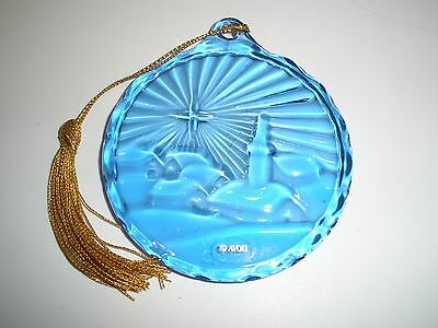 Avon  Blue Glass 1985 Blue Glass Ornament Christmas Star Bethlehem Suncatcher