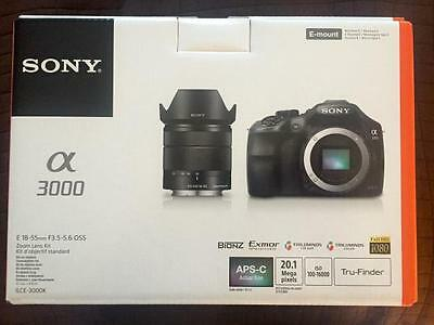 NEW Sony Alpha a3000 20.1MP Digital Camera - Black (Kit w/ E OSS 18-55mm Lens)