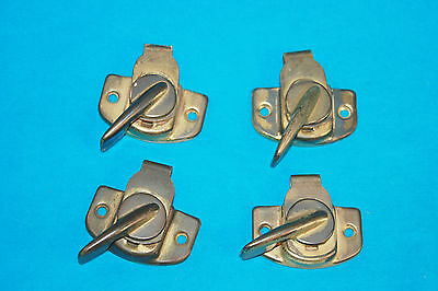4 Vintage Brass Plate Window Locks