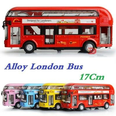 1:48 Bus Model Cars Tour London Double Decker Diecast w/light&sound Toy Gift Red