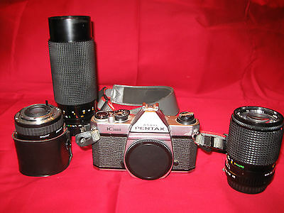 Pentax K1000 camera with lenses