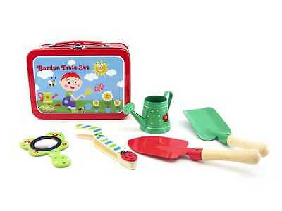 NEW Kaper Kidz Toy Wooden Gardening Set with Mini Watering Can in Carry Case