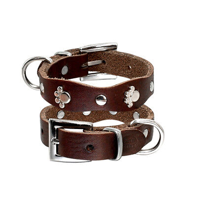 5.5-8''Leather Paw Studded Dog Collar Pet Puppy Collars for Small Dogs Chihuahua