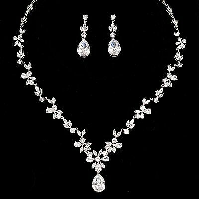 White Gold Plated Zirconia CZ Necklace Earrings Bridal Wedding Jewelry Set 00674