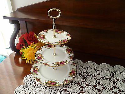 Stunning  Royal Albert Old Country Roses 3 Tier Cake Stand  Made In England