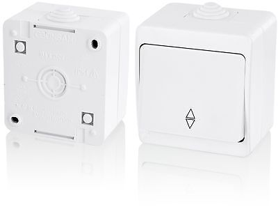 Surface-mounted Sauna Toggle Switch IP54All-in-oneFrame + Insert + Cover (Ser...