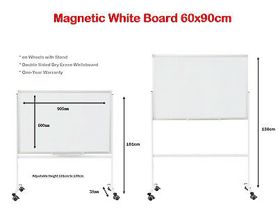 Mobile 90x60cm Magnetic White Board with Stand Double Sided Dry Erase Whiteboard